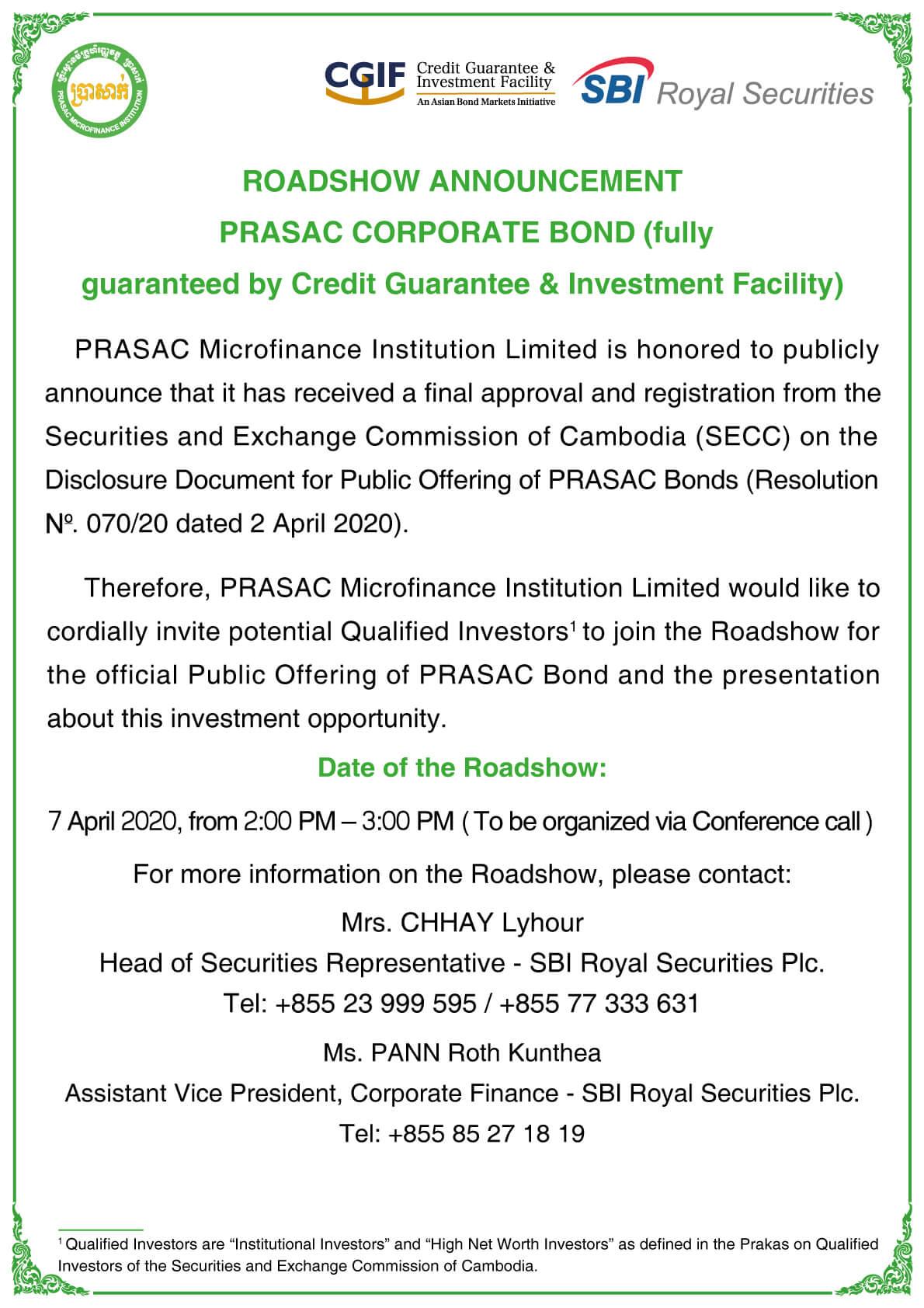 ROADSHOW ANNOUNCEMENT ON PRASAC CORPORATE BOND