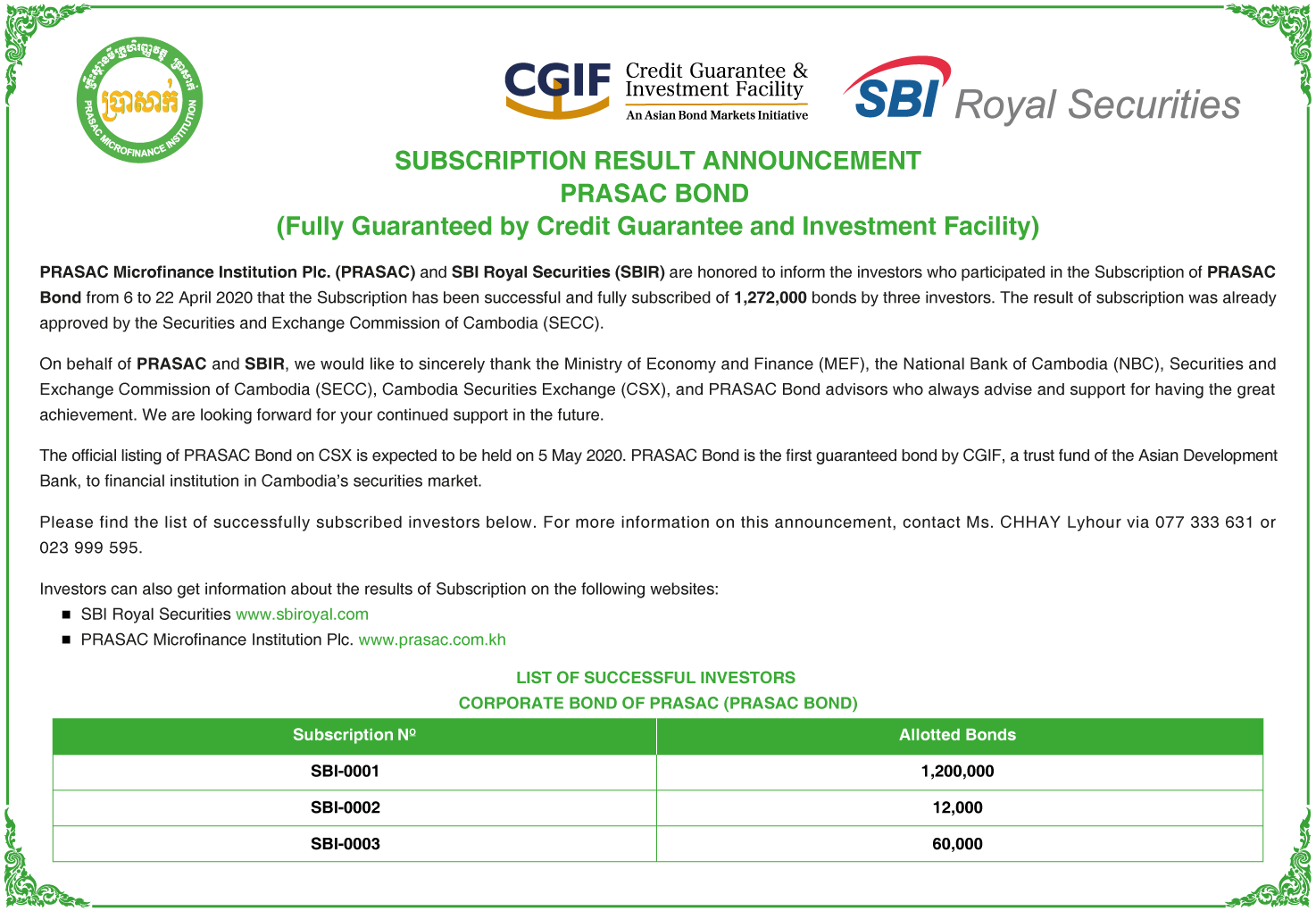 Subscription Result Announcement of PRASAC Bond